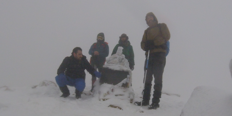 El equipo en la cima del Pico Torrecilla