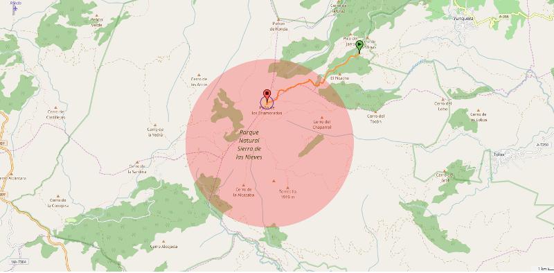 Mapa de la zona de vivac