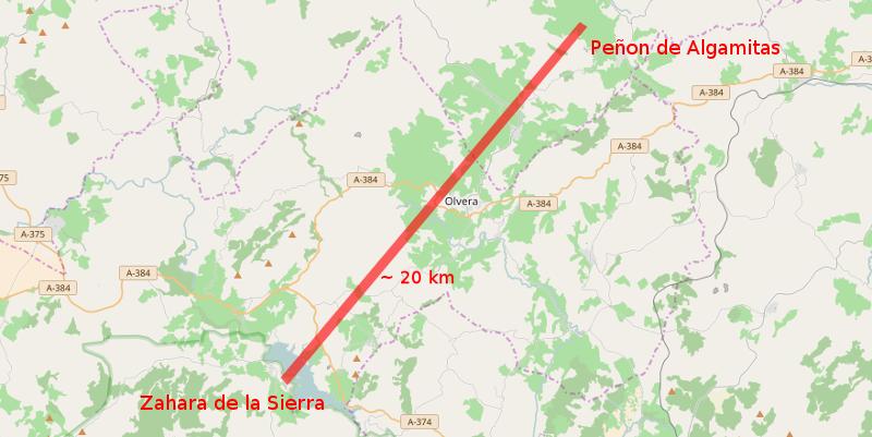 Mapa Zahara de la Sierra - Peñon de las Algamitas